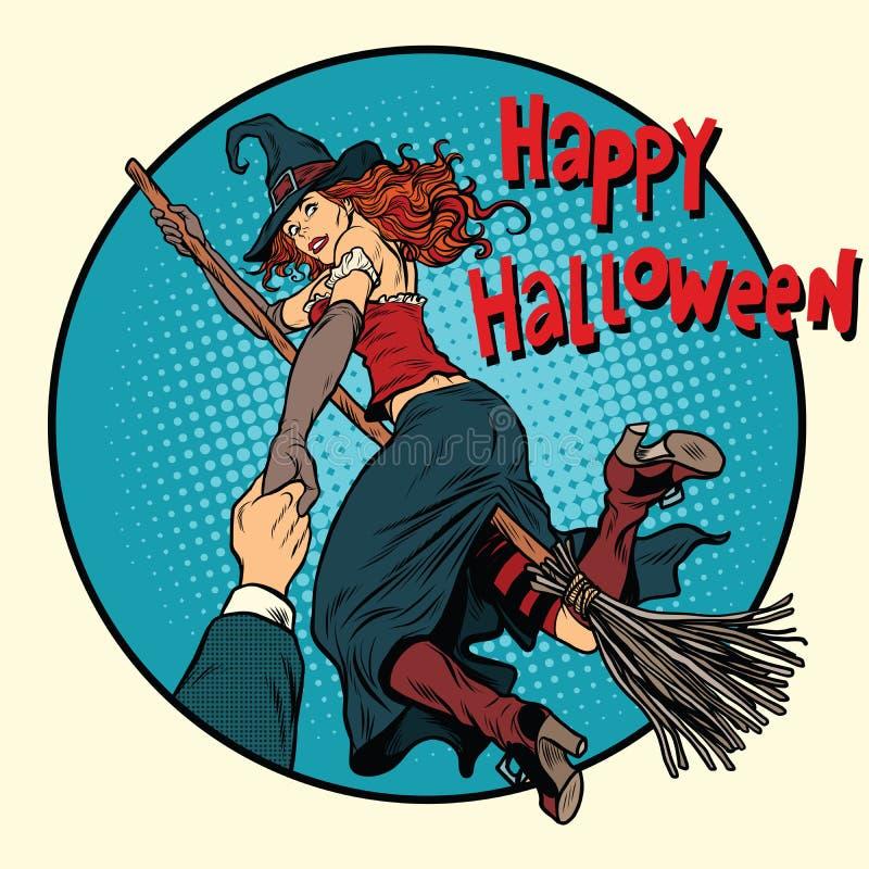 Glückliche Halloween-Hexe auf einem Besenstielfollow-me vektor abbildung