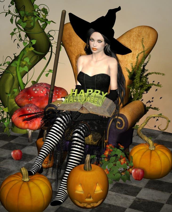 Glückliche Halloween-Hexe, die auf einem Lehnsessel sitzt vektor abbildung