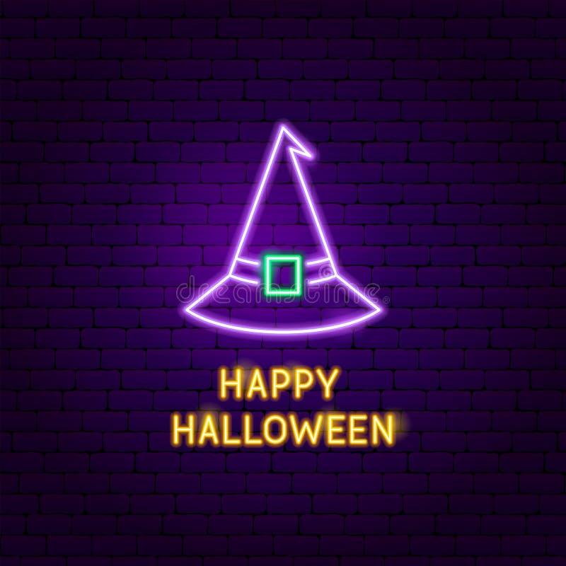 Glückliche Halloween-Hexen-Neonaufkleber lizenzfreie abbildung