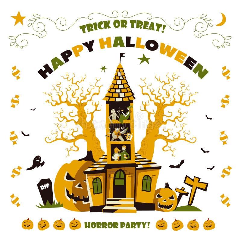 Glückliche Halloween-Horrorpartei, Geisterhaus mit Bäumen lizenzfreie abbildung