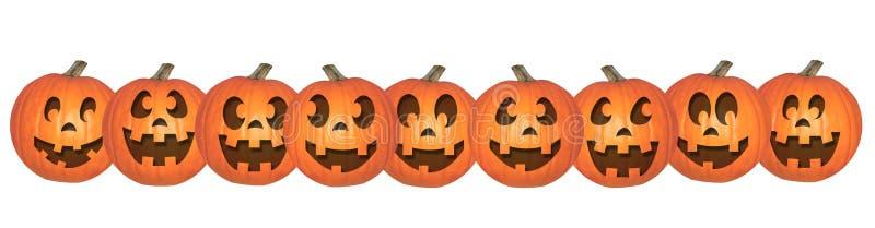 Glückliche Halloween-Kürbise in Folge stock abbildung