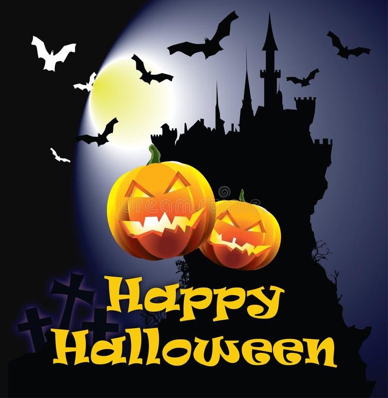 Glückliche Halloween-Karte lizenzfreie abbildung