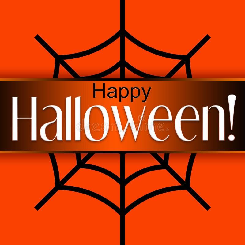 Glückliche Halloween-Karte auf einem orange Hintergrund und einem großen Spinnennetz vektor abbildung