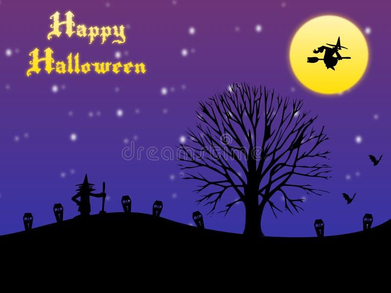 Glückliche Halloween-Karte mit Mond und Hexen stock abbildung