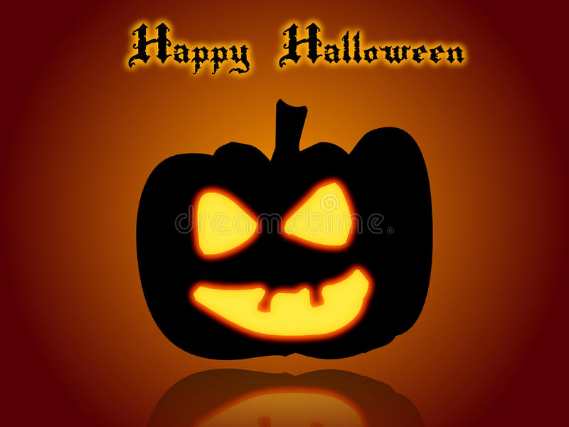 Glückliche Halloween-Karte mit Mond und Hexen lizenzfreie abbildung