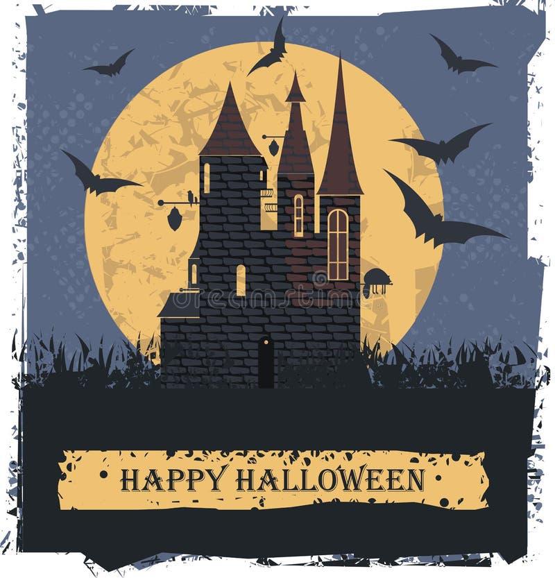 Glückliche Halloween-Karte mit Stylis-Hexen-Schloss lizenzfreie abbildung