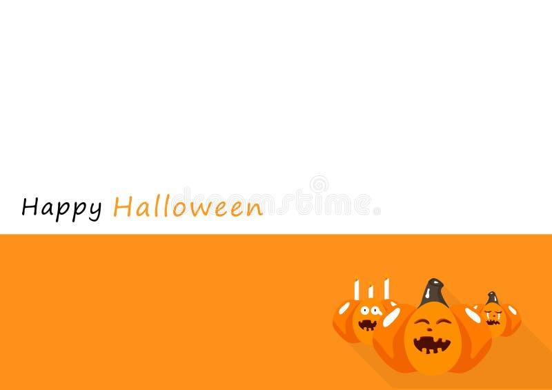 Glückliche Halloween-Karte, Schattenentwurfshintergrund-Vektorillustration des Kürbiszeichentrickfilm-figur-Einladungsplakats fla lizenzfreie abbildung