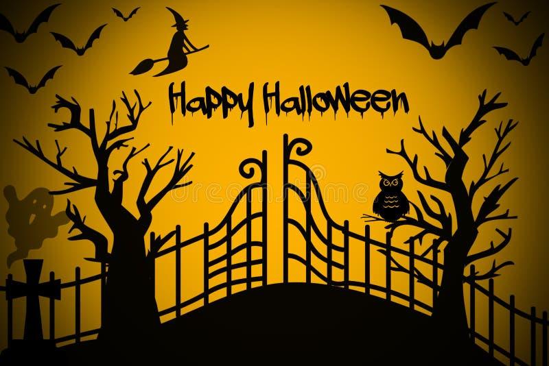 Glückliche Halloween-Nacht mit Hexe, Baum, Schläger auf schwarzem und orange Hintergrund stock abbildung