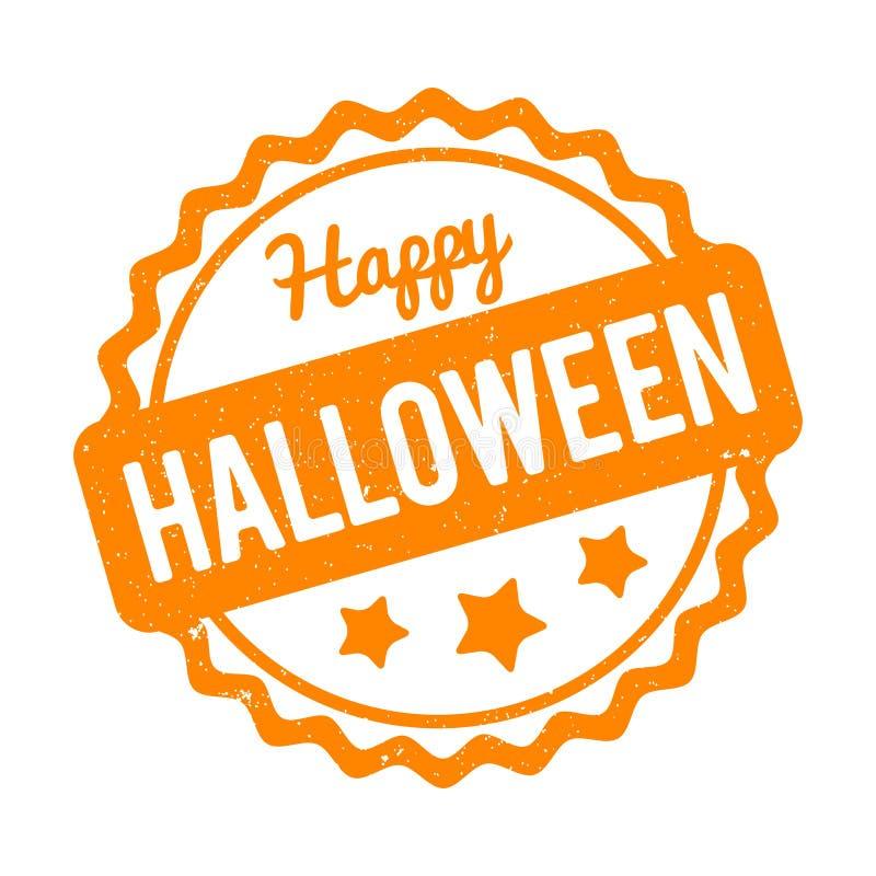 Glückliche Halloween-Stempelorange auf einem weißen Hintergrund vektor abbildung