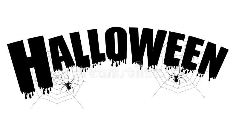 Glückliche Halloween-Textfahne mit Netz und Spinne Vektor vektor abbildung