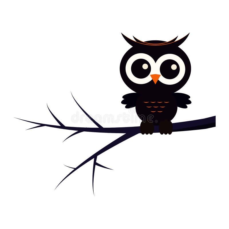 Glückliche Halloween-Tiercharakterillustration: schwarze nette Eule, die auf Baumast sitzt lizenzfreie abbildung