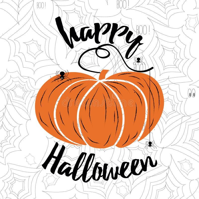 Glückliche Halloween-Vektorbeschriftung Feiertagskalligraphie mit Spinnennetz und -kürbis stock abbildung