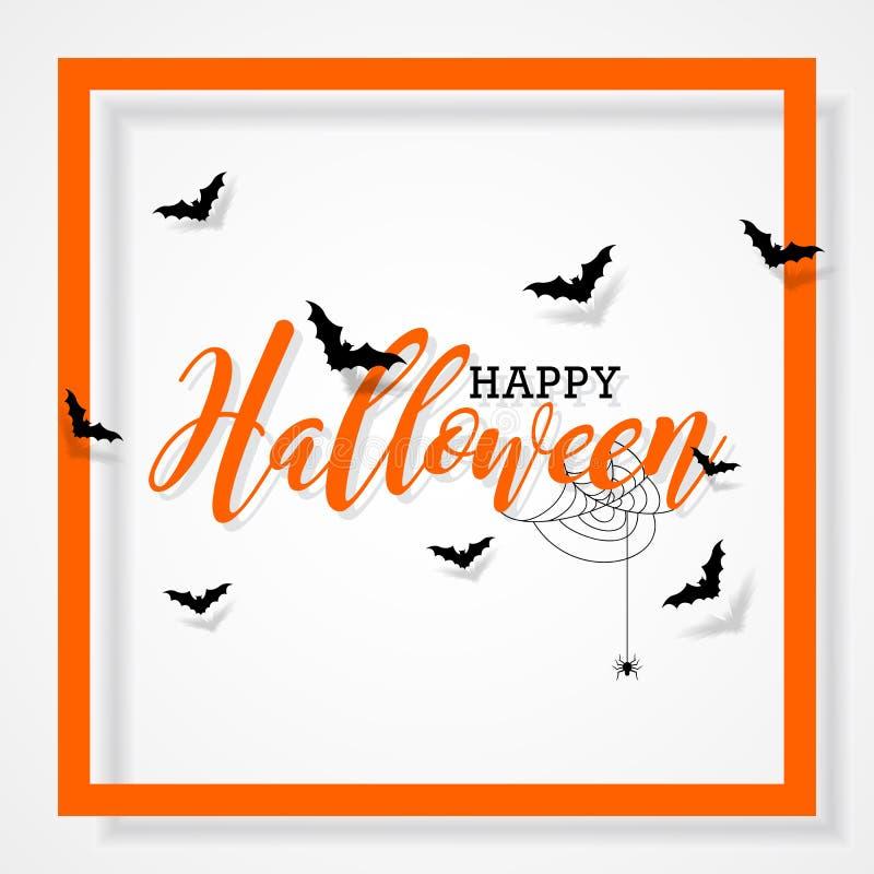 Glückliche Halloween-Vektorillustration mit Schlägern und Spinne auf schwarzem Hintergrund Feiertagsdesign für greting Karte, Pla vektor abbildung