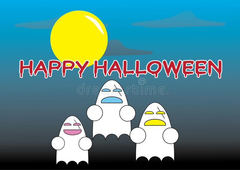 Glückliche Halloween-Wörter mit Karikaturgeistern stock abbildung