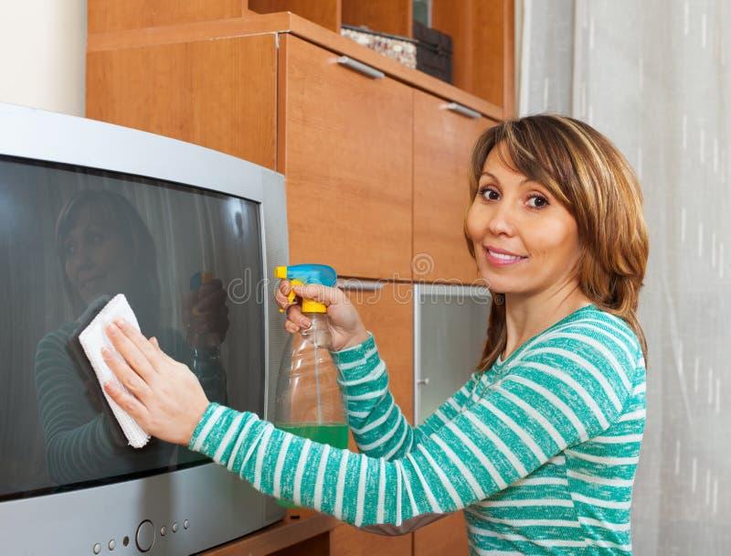 Glückliche Hausfrau, die Fernsehen säubert lizenzfreie stockfotografie
