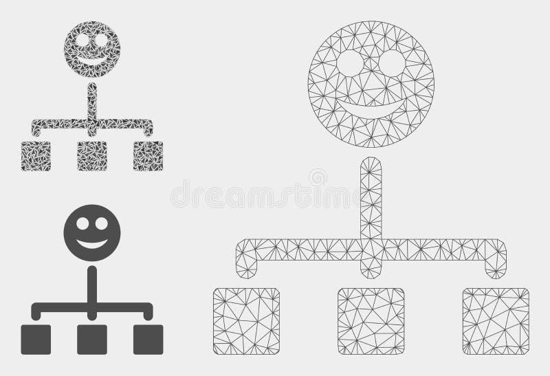Glückliche Hierarchie-Vektor-Maschen-2D Modell-und Dreieck-Mosaik-Ikone stock abbildung