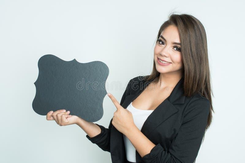 Glückliche hispanische Geschäftsfrau stockbilder