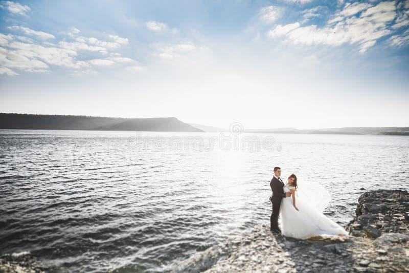 Glückliche Hochzeitspaare, die über schöner Landschaft bleiben stockbild