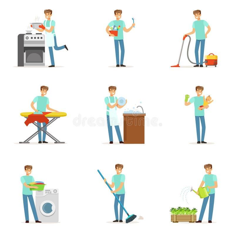 Glückliche househusband Männer, die ihr Haus, Reinigung, bügelnd säubern, Kind oben holend Satz des ausführlichen Vektors der bun stock abbildung