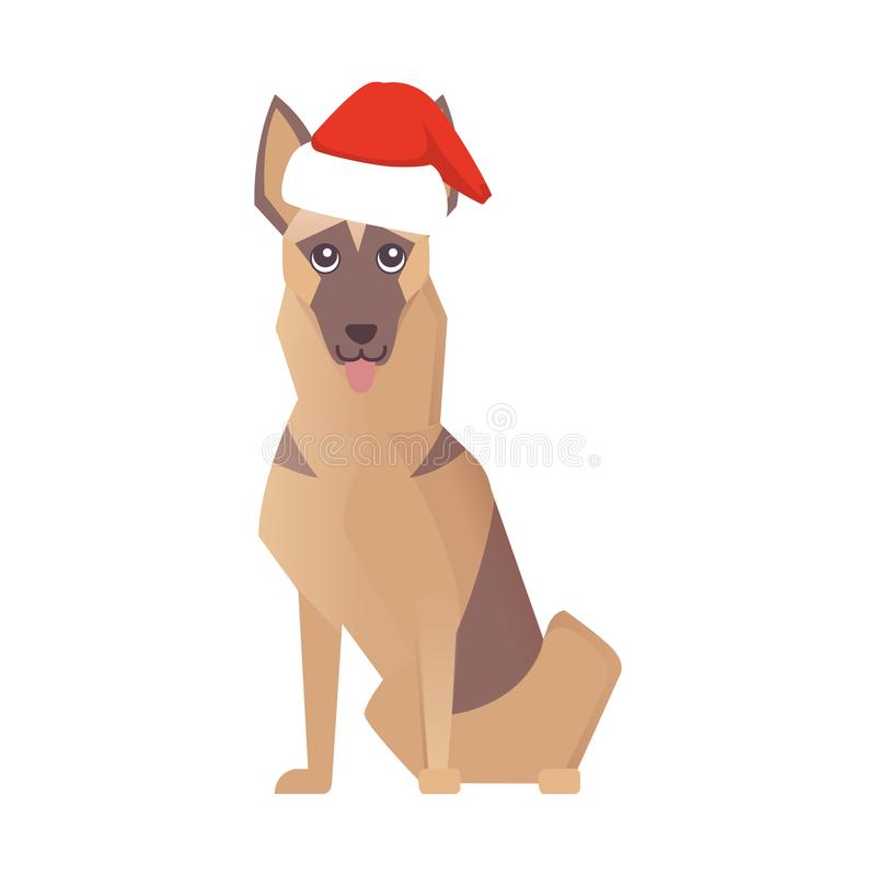 Glückliche Hundeikone Newyear Weihnachtsvektor-Karikaturillustration stock abbildung