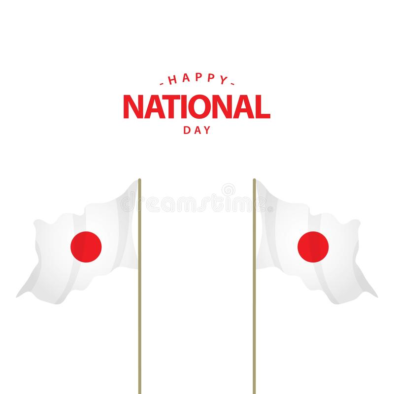 Glückliche Japan-Nationaltag-Vektor-Schablonen-Entwurfs-Illustration stock abbildung