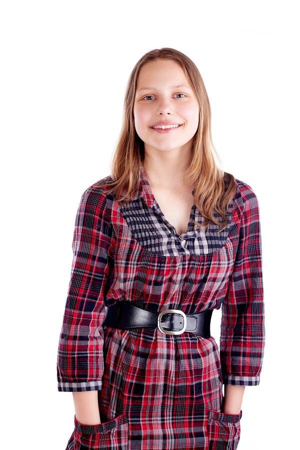 Glückliche jugendlich Mädchenaufstellung lizenzfreies stockfoto