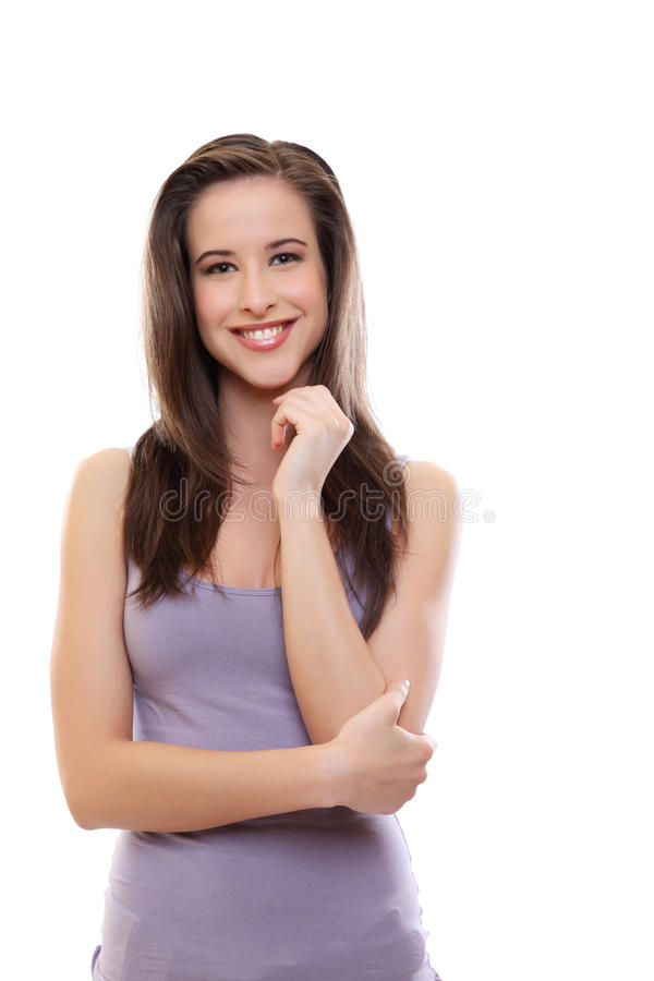 Glückliche junge Brunettefrau getrennt auf Weiß stockfotografie