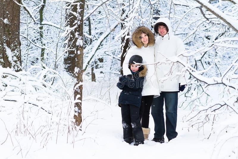 Glückliche junge dreiköpfige Familie, die in schneebedeckten Wald geht lizenzfreies stockbild