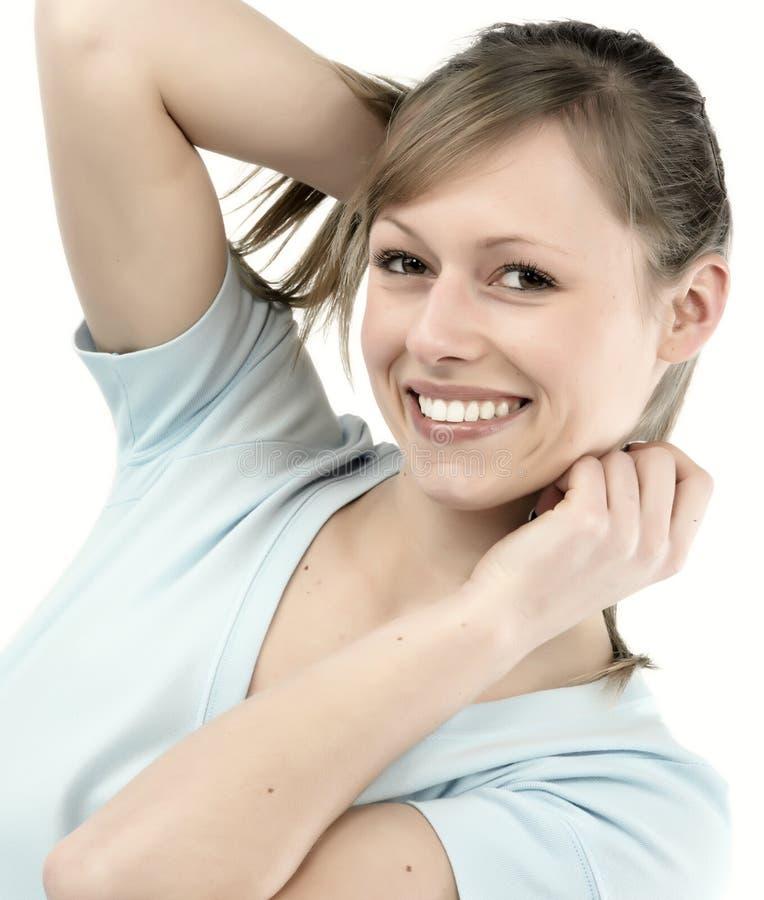 Glückliche junge Frau stockfoto