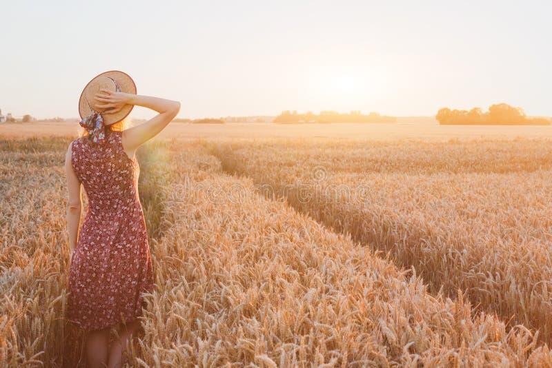 Glückliche junge Frau auf dem Weizengebiet durch Sonnenuntergang, Tagtraum lizenzfreie stockfotografie