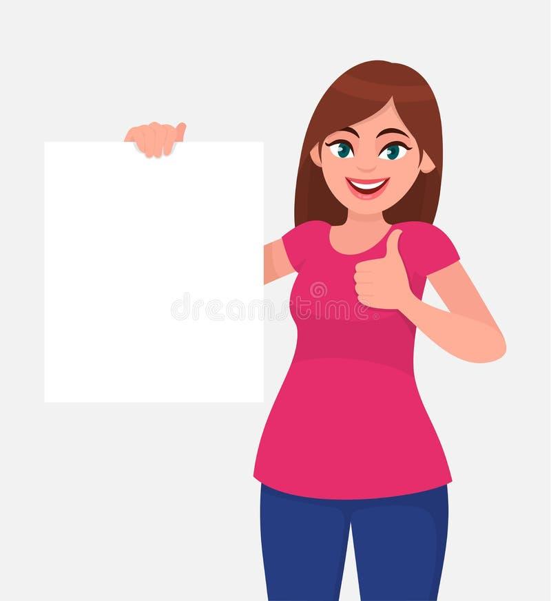 Glückliche junge Frau, die einen freien Raum/ein leeres Blatt des Weißbuches oder des Brettes hält und Daumen herauf Zeichen gest stock abbildung