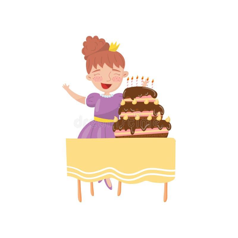 Glückliche junge Frau mit Geburtstagskuchen-Karikaturvektor Illustration lizenzfreie abbildung