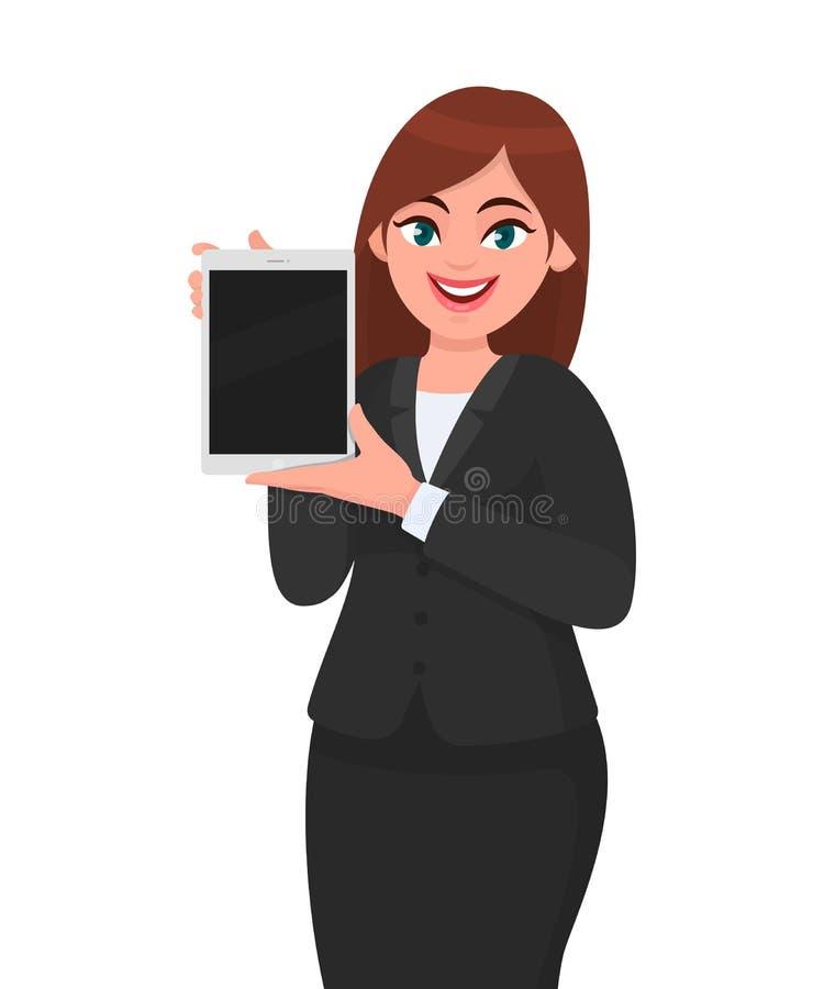 Glückliche junge Geschäftsfrauvertretung oder einen nagelneuen digitalen Tablet-Computer in der Hand halten Entwurfsillustration  vektor abbildung