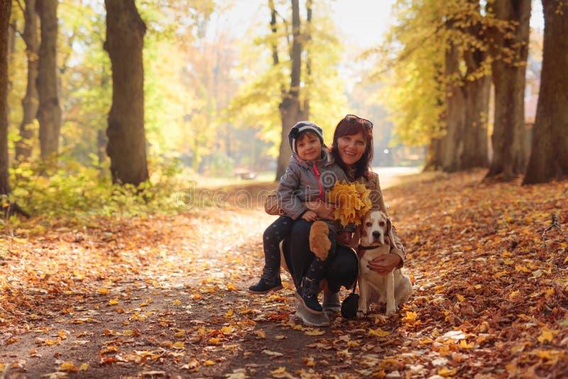 Glückliche junge Großmutter mit Enkelin und Hund lizenzfreie stockfotografie
