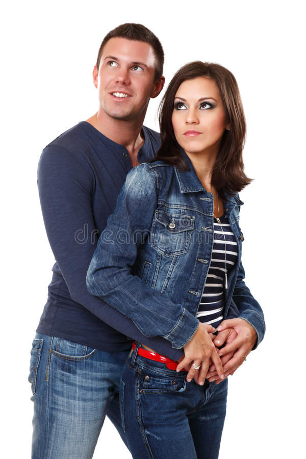 Glückliche junge Paare im Studio lizenzfreies stockbild
