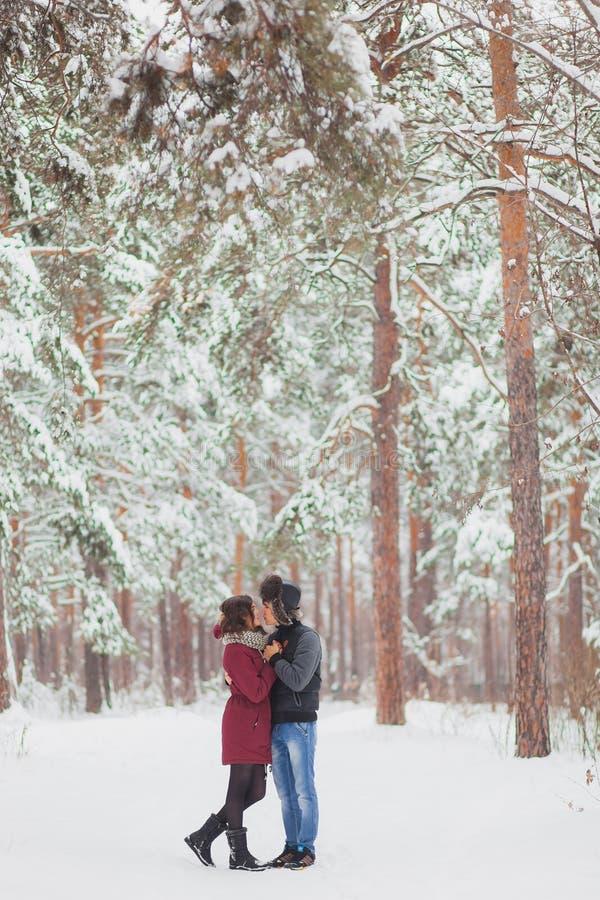 Glückliche junge Paare im Winter parken Haben des Spaßes Familie draußen Liebe, Valentinstag lizenzfreie stockfotografie