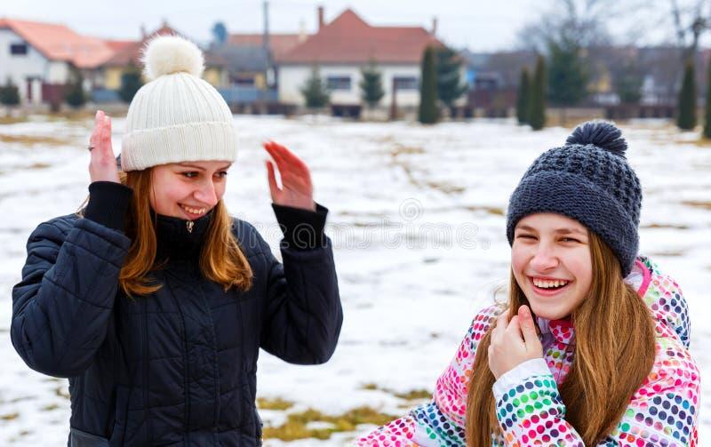 Glückliche junge Schwestern stockfoto
