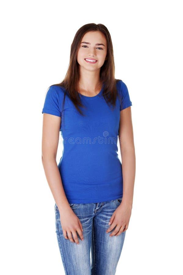 Glückliche junge Studentenfrau stockfotos