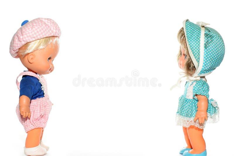Glückliche Jungen- und Mädchenpuppe lizenzfreies stockfoto