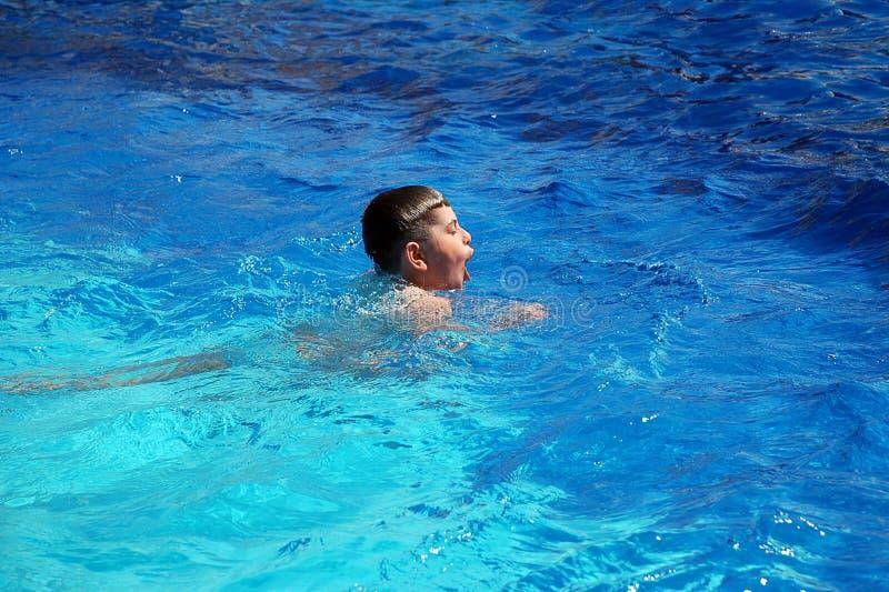 Glückliche Jungenschwimmen im Pool stockfoto