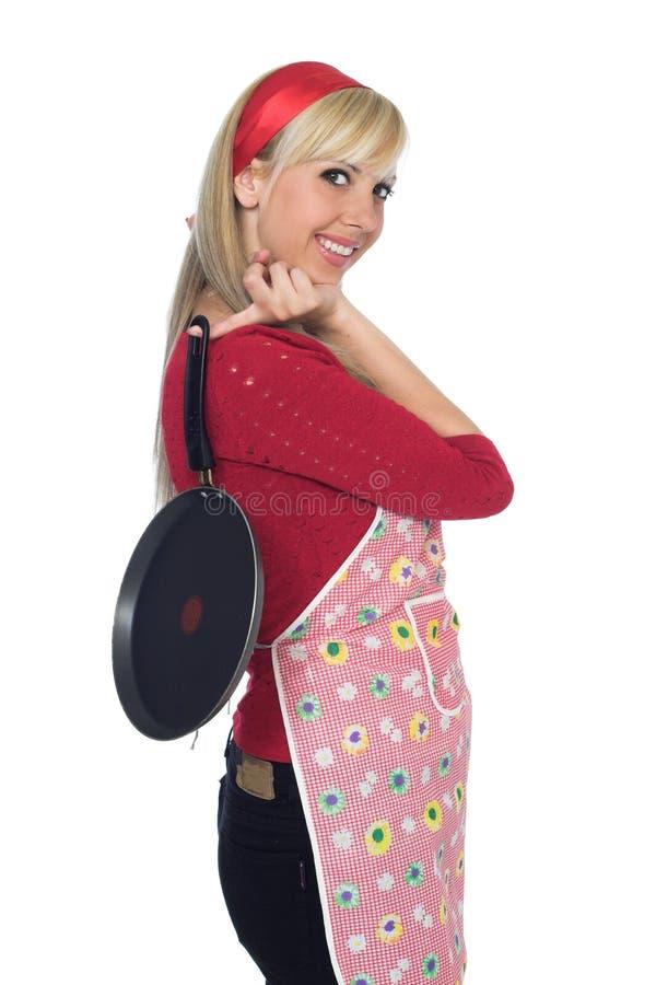 Glückliche Küchenmädchen-Holdingwanne stockbild