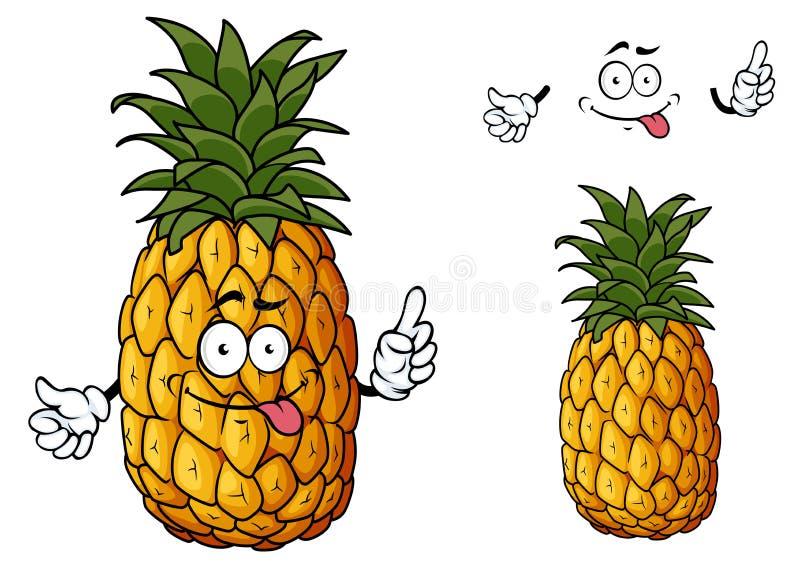 Glückliche Karikaturananasfrucht, die eine Hand wellenartig bewegt stock abbildung