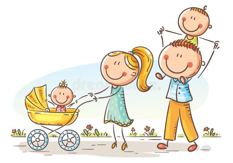 Glückliche Karikaturfamilie mit zwei Kindern, die draußen gehen lizenzfreie abbildung