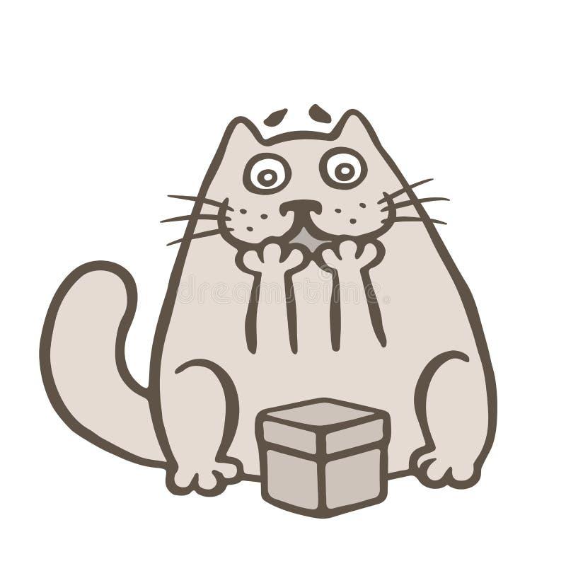 Glückliche Karikaturkatze und -Geschenkbox Auch im corel abgehobenen Betrag vektor abbildung
