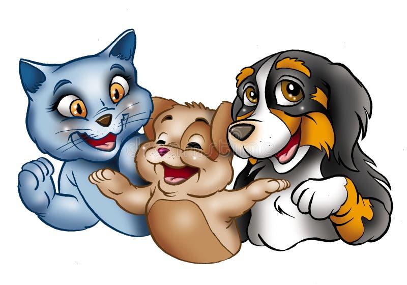 Glückliche Karikaturkatzen und -hund lizenzfreie abbildung