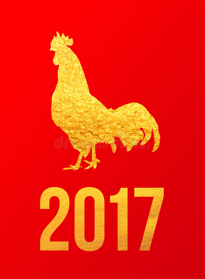 Glückliche Karte 2017 Chinesischen Neujahrsfests Vector Plakat eines goldenen Hahns auf rotem Hintergrund Designschablone für Dru vektor abbildung