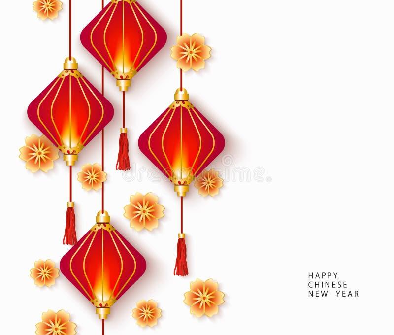 Glückliche Karte des Chinesischen Neujahrsfests mit roten Laternen und Goldblumen lizenzfreie abbildung