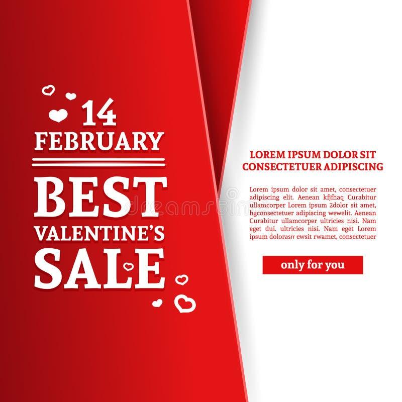 Glückliche Karte ` s Valentinsgruß des Schablonendesigns Tages Rabattplakat mit rote Farbband und spezieller Valentinsgruß ` s Ve lizenzfreie abbildung