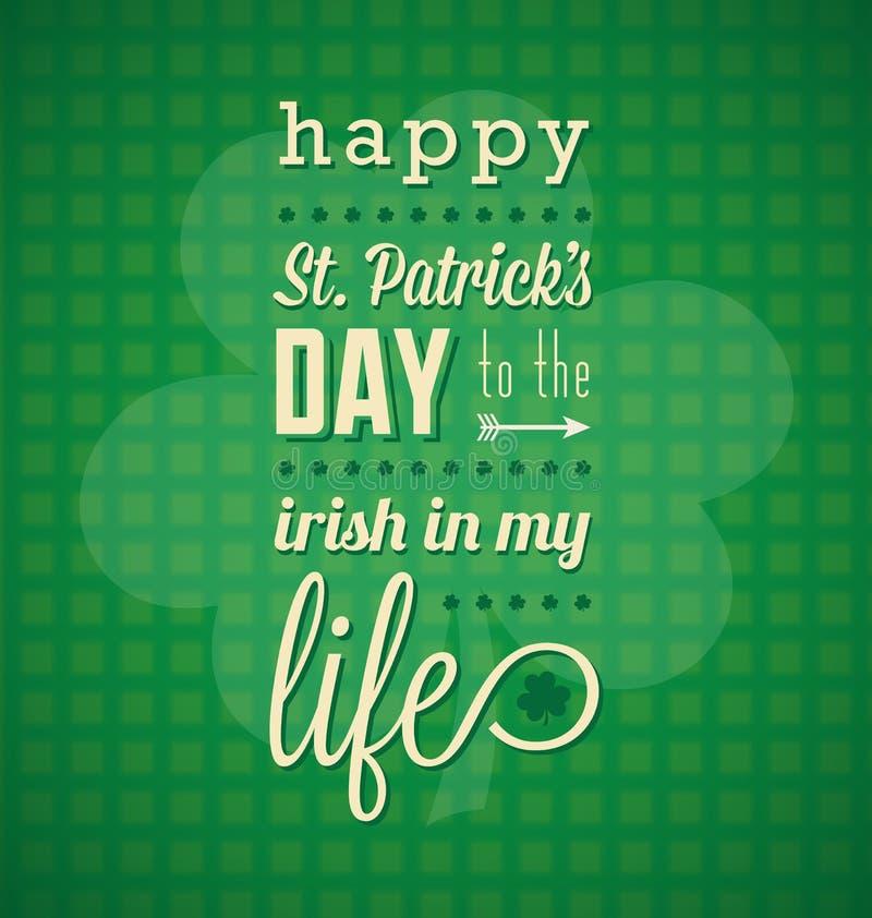 Glückliche Karte St. Patricks Tages lizenzfreie abbildung