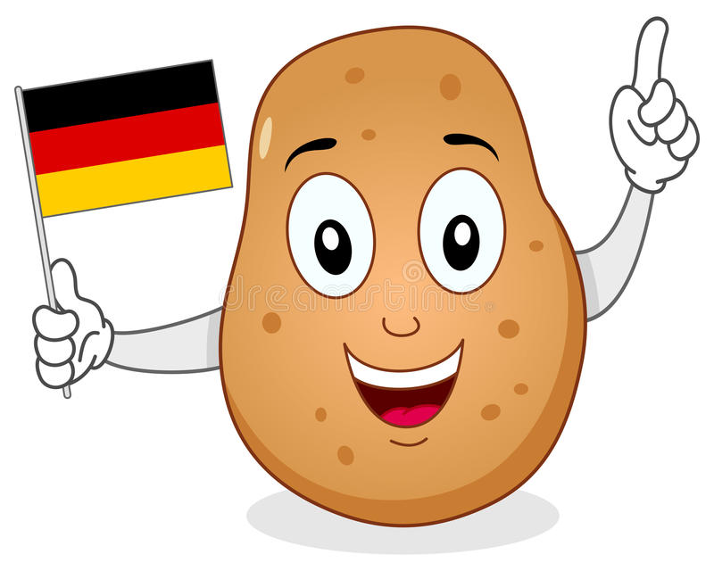 Glückliche Kartoffel, die eine deutsche Flagge hält vektor abbildung